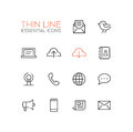 Network And Technology Symbols - Thick Line Design Icons Set Stock Photo - 77318520