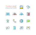 Network And Technology Symbols - Thick Line Design Icons Set Royalty Free Stock Photo - 77318675