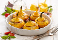Baked Pattypan Squash , Stuffed With Cheese Stock Photo - 77323600