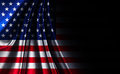 Fabric Texture American USA Flag, On Black Noir Background Royalty Free Stock Photo - 77325295