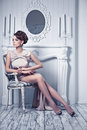 High Fashion Shot Of Young Beautiful Woman In Gorgeous Silk Dres Stock Photo - 77332430