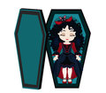 Funny Cartoon Cute Vampire Girl Sleeping In Her Coffin. Royalty Free Stock Photography - 77339817