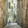 Old Mediterranean Town Street With Retro Bike Stock Photography - 77342832