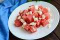 Light Diet Summer Salad Of Fresh Watermelon And Feta Cheese With Sesame Seed Stock Image - 77365051