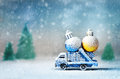 Old Toy Truck Carrying Christmas Balls Royalty Free Stock Photos - 77365618