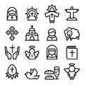 Thanksgiving , Easter, God , Christian Icon Set In Thin Line Sty Royalty Free Stock Image - 77377646