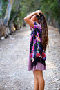 Girl With Hands In Hair On A Path Royalty Free Stock Photo - 77419825