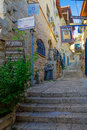 Ally With Various Signs, In Safed (Tzfat) Royalty Free Stock Photo - 77420795