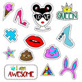 Trendy Fashionable Pins, Patches, Labels, Stickers  On White.  Royalty Free Stock Photography - 77445777