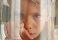 Fish Perspective: Looking A Kid Touching The Aquarium Glass Royalty Free Stock Images - 77451289