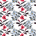 Beautiful Watercolor Summer Garden Blooming Flowers Seamless Pattern Royalty Free Stock Photography - 77451437