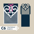 Template Envelope With Carved Openwork Heart Stock Photography - 77486402