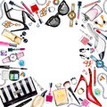 Frame Of Various Watercolor Female Accessories. Makeup Products Royalty Free Stock Photography - 77487277