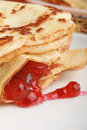 Stack Of Pancakes Filled With Red Jam Stock Image - 7751411