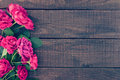 Frame Of Roses On Dark Rustic Wooden Background. Spring Flowers. Royalty Free Stock Image - 77501716