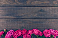 Frame Of Roses On Dark Rustic Wooden Background. Spring Flowers. Royalty Free Stock Images - 77502069