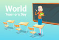 Teacher Day Holiday Woman School Class Board Stock Photo - 77503380