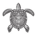 Terrapin, Turtle Painted Tribal Ethnic Ornament. Hand Drawn Vector Illustration With Decorative Patterns Royalty Free Stock Photography - 77505077