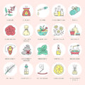 Modern Vector Line Icons Of Aromatherapy And Essential Oils. Elements - Aromatherapy Diffuser, Oil Burner, Spa Candles Royalty Free Stock Photography - 77506717