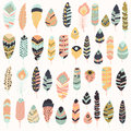 Collection Of Boho Vintage Tribal Ethnic Hand Drawn Colorful Feathers Royalty Free Stock Images - 77507259