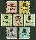 Stamps With Animals From Coffee Cup Royalty Free Stock Image - 77512036