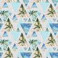 Triangle Seamless Pattern With Palms, Grunge And Watercolor Textures. Stock Photo - 77533540