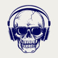 Skull Sketch With Headphones Stock Images - 77535854