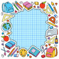 Bunner Cell Sheet In Cage With Set Of Different School Things Vector Bag Apple Royalty Free Stock Photography - 77539117