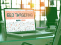 Geo Targeting Concept On Laptop Screen. 3D. Stock Images - 77544694