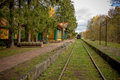 Old Vintage Railway Station With Train In Poland, Bialowieza, Royalty Free Stock Photo - 77566175