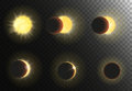 Sun Eclipse Vector Illustration. Different Phases Of Solar Eclipse Set. Stock Photography - 77570952