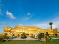 Huge Golden Reclining Buddha At Songkhla Thailand Stock Photos - 77578053