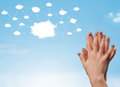 Finger Smiley With Cloud Network System Royalty Free Stock Photo - 77585875