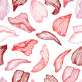 Hand Drawn Vector Seamless Pattern - Rose Petals. Floral Backgro Stock Images - 77596484
