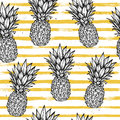 Hand Drawn Vector Seamless Pattern - Pineapple With Striped Back Stock Images - 77597054