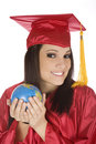 Caucasian Student Wearing A Red Graduation Gown And Holding Globe Stock Photography - 7769152