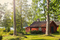 Red Timber Lake House Royalty Free Stock Photo - 77600075