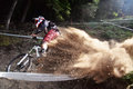 Sport Race Mountain Biker Extreme And Fun Downhill Track. Royalty Free Stock Photo - 77601285