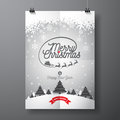 Vector Merry Christmas Holiday And Happy New Year Illustration With Typographic Design And Snowflakes On Winter Landscape Backgrou Royalty Free Stock Images - 77603469
