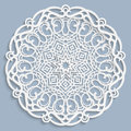 Lace 3D Mandala, Round Symmetrical Openwork Pattern, Lacy Doily, Decorative  Snowflake, Arabic Ornament, Indian Ornament, Embossed Stock Image - 77604301