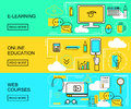 E-learning, Online Education And Web Courses Horizontal Banners. Distance Trainings. Study Icons With Thin Line Style. Vector Illu Stock Images - 77608644