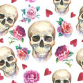 Watercolor Tattoo Concept Pattern With Skull Element Isolated. Royalty Free Stock Images - 77609429