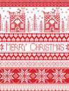 Merry Christmas Pattern With Gingerbread House, Christmas Tree, Heart, Reindeer, Sleigh, Stock Image - 77619911
