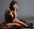 Seated Woman On Fur Royalty Free Stock Image - 77625586