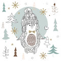 Cute Christmas Penguin Zen Art Doodle Royalty Free Stock Photography - 77631907