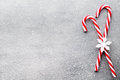 Candy Cane. Christmas Decors With Gray Background. Stock Photo - 77647080