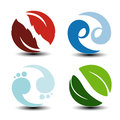 Natural Symbols - Fire, Air, Water, Earth - Nature Circular Icons With Flame, Bubble Air, Wave Water And Leaf. Elements Of Ecology Stock Photos - 77652953