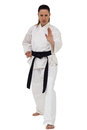Female Fighter Performing Karate Stance Stock Images - 77653054