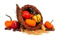 Thanksgiving Cornucopia With Pumpkins, Apples And Gourds Isolated On White Royalty Free Stock Photography - 77684287