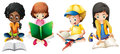 Boy And Girls Reading Book Royalty Free Stock Photography - 77684457